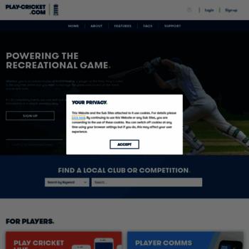 play-cricket com at WI  Play-Cricket