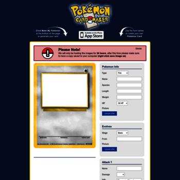 pokemoncardapp com at WI  Pokemon Card Maker App