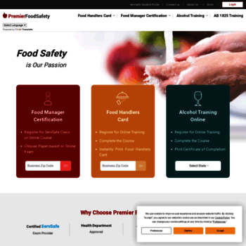 premierfoodsafety com at WI  Food Safety Certification