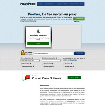 proxfree com at WI  ProxFree: Free Web Proxy | Surf Anonymously