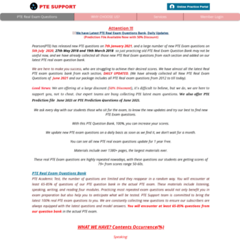 pte-support com at WI  PTE REAL Exam Question Bank(July 2018 Update