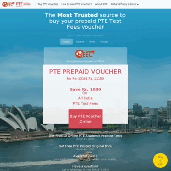 ptetestindia com at WI  Buy PTE Voucher + Get Free Book - 11100 +