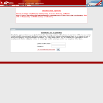 qaccess.qantas.com.au at WI. QANTAS | Login