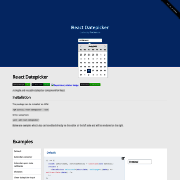 reactdatepicker com at WI  ReactJS Datepicker crafted by