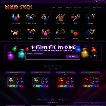 realmstock com at WI  RealmStock - Cheapest RotMG Shop - Realm of