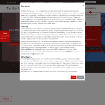 redstarexpress-ng com at WI  Red Star Express PLC   Best