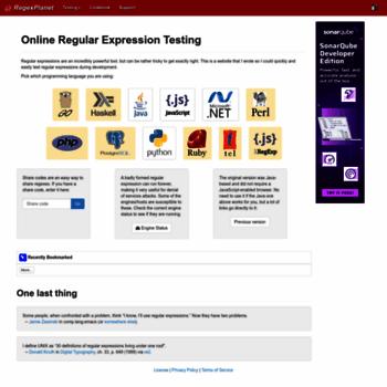 regexplanet com at WI  RegexPlanet - Online Regular Expression
