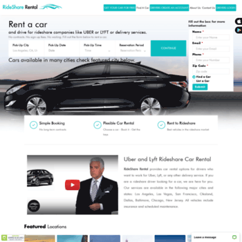 ridesharerental com at WI  Rent a Car to Drive for Uber and