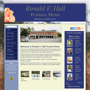 Ronaldvhall Com At Wi Ronald V Hall Funeral Home Vidalia Ga
