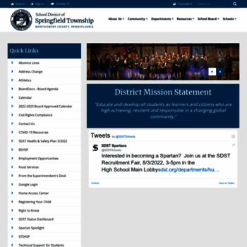 sdst org at WI  School District of Springfield Township / Homepage