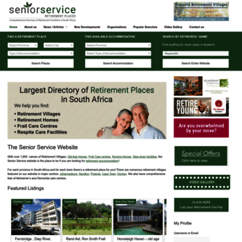 seniorservice co za at WI  Find the best Retirement Villages, Old