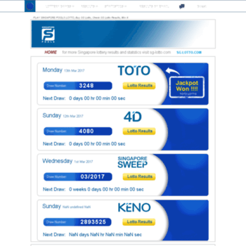 singaporelottery info at WI  SG LOTTO, Check Toto Results, 4d