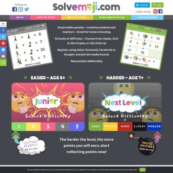 solvemoji com at WI  Solvemoji - Emoji Math Puzzles & Games