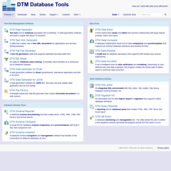 sqledit com at WI  DTM Database Tools: test data generation