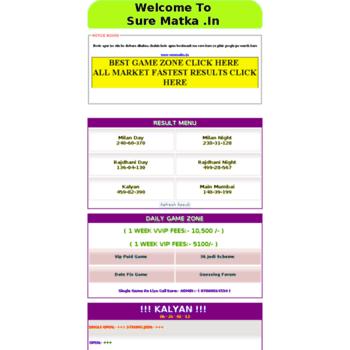 surematka in at WI  SATTA MATKA | FREE KALYAN MAIN DAILY FIX