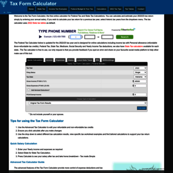 taxformcalculator com at WI  Yearly Federal Tax Calculator 2019/2020
