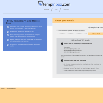 tempinbox com at WI  TempInbox - Temporary Email Service