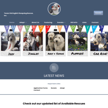 texasoesrescue org at WI  Texas Old English Sheepdog Rescue