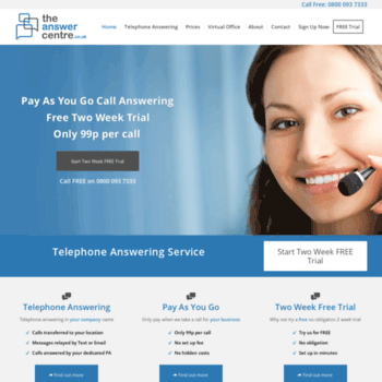 theanswercentre co uk at WI  Telephone Answering Service | Business