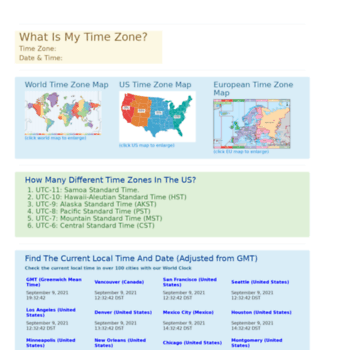 timezonecheck.com at WI. Time Zone Map | Time Zones Of The World