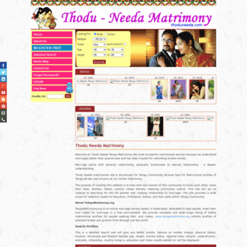 todu-needa com at WI  Telugu Matrimony | Marriage Bureau Hyderabad