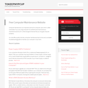 tokeepmypcup com at WI  Free Computer Maintenance Website