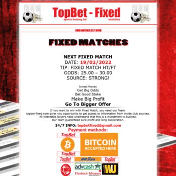 topbet-fixed com at WI  Fixed Matches & Correct score fixed