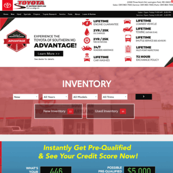 Toyota Of Southern Maryland >> Toyotasmd Com At Wi Toyota Dealership Lexington Park Md