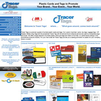 tracertagsinc com at WI  Plastic cards, membership cards