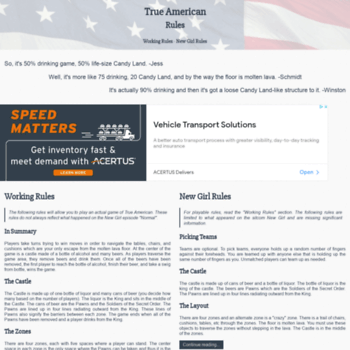 trueamericanrules com at WI  True American (Drinking Game) Rules