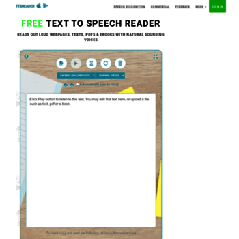 ttsreader com at WI  Text To Speech Reader  Online, Accurate, Free