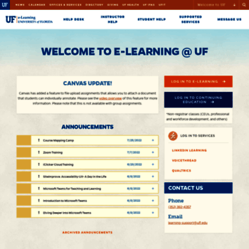 ufl instructure com at WI  UF Authentication - GatorLink