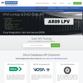 ukvehicledata co uk at WI  UK Vehicle Data - DVLA Database API