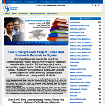uniprojectmaterials com at WI  Free Undergraduate Project