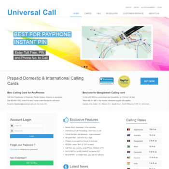 universal-call com at WI  Calling Cards by Universal-Call | Pinless