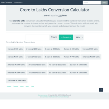 userconverter com at WI  Crore to Lakhs | Crore to Lakhs
