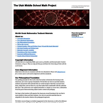 utahmiddleschoolmath org at WI  The Utah Middle School Math