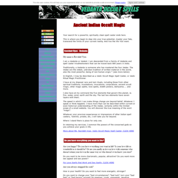 vedanta-occult-spells com at WI  Occult Magic Spells by gifted Spell