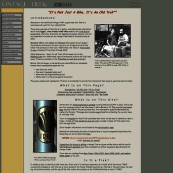 32d27c7ae88 vintage-trek.com at WI. Vintage Trek Bikes- Information on Steel ...