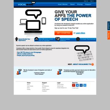 vocalware com at WI  Cloud-Based Text to Speech API