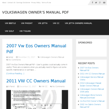 vw-ownersmanual com at WI  Volkswagen Owner's manual