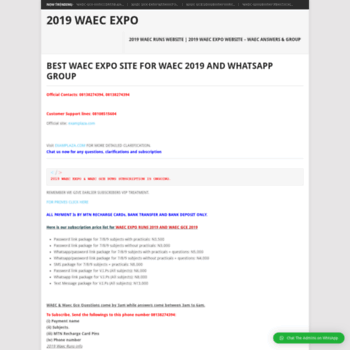 waecexpo com ng at WI  2019 WAEC EXPO SITE | BEST WAEC EXPO WEBSITE