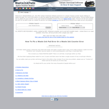 wasteinkpads com at WI  Epson Printer Waste Ink Pad Error