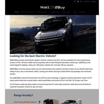 wattev2buy com at WI  WATTEV2BUY Best EV Info | Electric Car