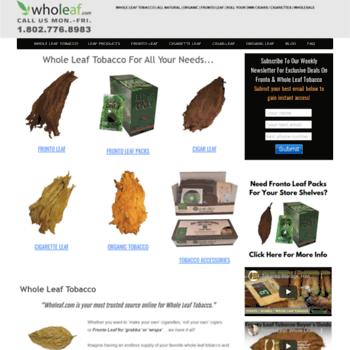 wholeaf com at WI  Whole Leaf Tobacco | Wholeaf com