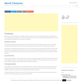 world-timezone.com at WI. World Time Zones - World Time Map with 25 ...
