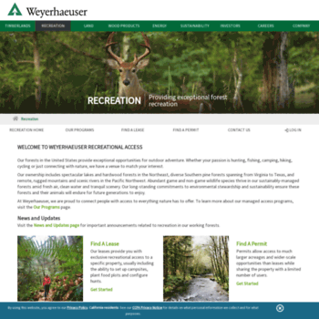 wyrecreationnw com at WI  Weyerhaeuser Premier Outdoor Recreational