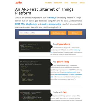 zettajs org at WI  Zetta - An API-First Internet of Things