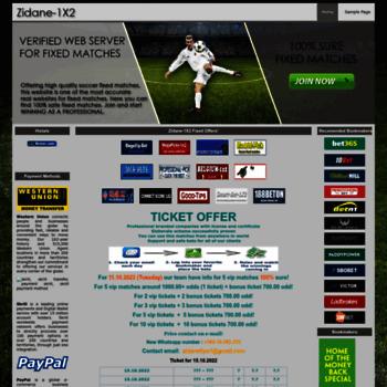 zidane-1x2 com at WI  Zidane 1X2 - Football Fixed Matches, Best