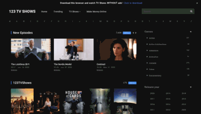 What 123tvshows.online website looked like in 2020 (This year)